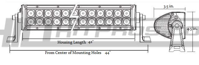 42 Inch 240 Watt CREE LED Off Road Light Bar Dimensions