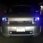 Scion xB Front Shot with HID Projectors and COB LED Halo Rings